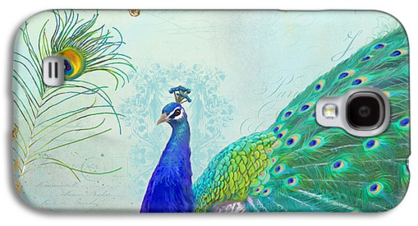 Peacock Galaxy S4 Case - Regal Peacock 2 W Feather N Gold Leaf French Style by Audrey Jeanne Roberts