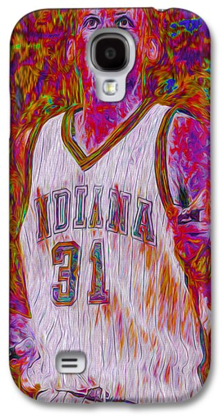 Reggie Miller Nba Basketball Indiana Pacers Painted Digitally Galaxy S4 Case by David Haskett