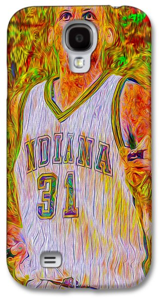 Reggie Miller Nba Indiana Pacers Basketball Digitally Painted Galaxy S4 Case by David Haskett