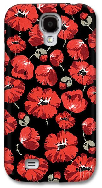 Repeating Pattern Of Poppies Montage On Black Background Galaxy S4 Case