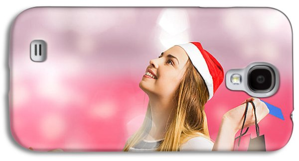 Retail Christmas Holiday Woman With Store Bags Galaxy S4 Case by Jorgo Photography - Wall Art Gallery
