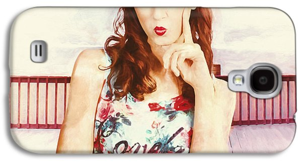 Retro Clip Art Of A Thinking Pin-up Woman Galaxy S4 Case by Jorgo Photography - Wall Art Gallery
