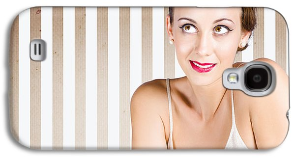 Retro Fashion Model Looking At Copyspace Galaxy S4 Case by Jorgo Photography - Wall Art Gallery