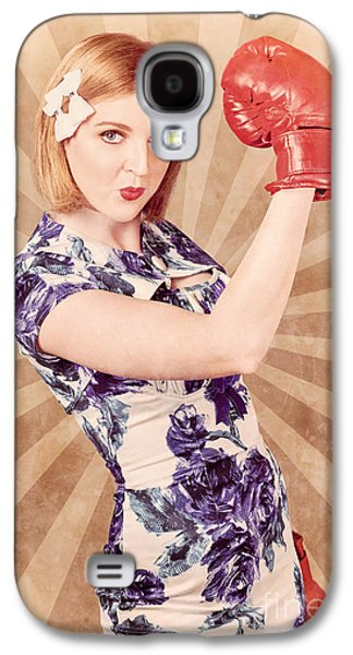 Retro Pinup Boxing Girl Fist Pumping Glove Hand  Galaxy S4 Case