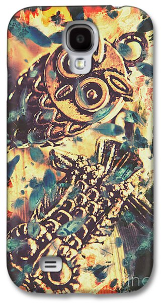Retro Pop Art Owls Under Floating Feathers Galaxy S4 Case by Jorgo Photography - Wall Art Gallery