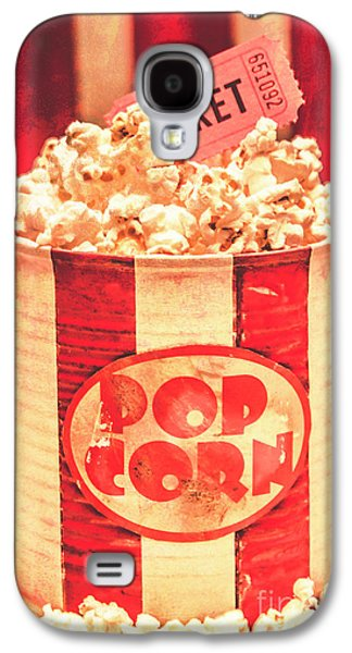 Retro Tub Of Butter Popcorn And Ticket Stub Galaxy S4 Case by Jorgo Photography - Wall Art Gallery