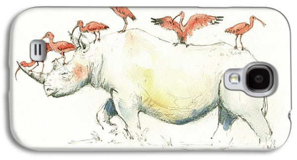Rhino And Ibis Galaxy S4 Case by Juan Bosco