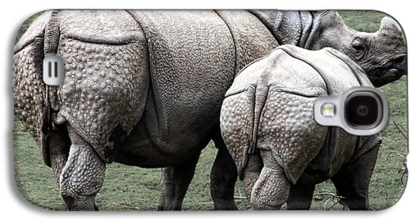 Rhinoceros Mother And Calf In Wild Galaxy S4 Case by Daniel Hagerman