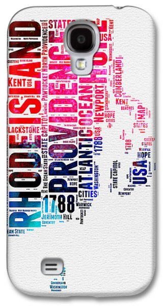 Rhode Island Watercolor Word Cloud Galaxy S4 Case by Naxart Studio