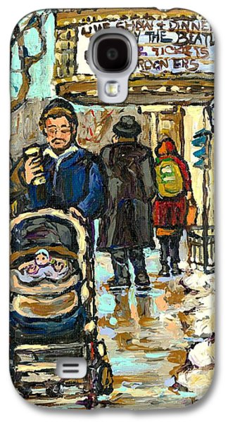 Rialto Theatre Beatles Marquee Cell Phone Man Baby Carriage Winter  Park Ave Montreal Carole Spandau Galaxy S4 Case by Carole Spandau