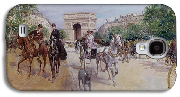 Riders And Carriages On The Avenue Du Bois Galaxy S4 Case by Georges Stein