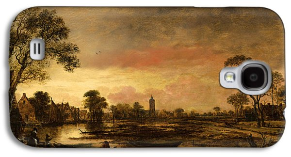 River Paintings Galaxy S4 Cases - River landscape  Galaxy S4 Case by Aert van der Neer