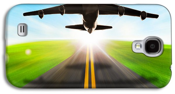 Airliner Galaxy S4 Cases - Road And Plane Galaxy S4 Case by Setsiri Silapasuwanchai