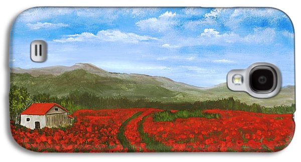 Road Through The Poppy Field Galaxy S4 Case