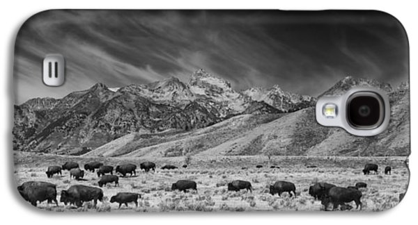 Roaming Bison In Black And White Galaxy S4 Case by Mark Kiver