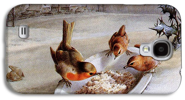 Wren Galaxy S4 Case - Robins And Wrens  Winter Breakfast by Harry Bright