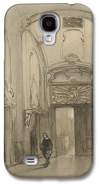 Rococo Portal In City Hall In The Hague With A Man In Seventeenth-century Costume Galaxy S4 Case by Johannes Bosboom