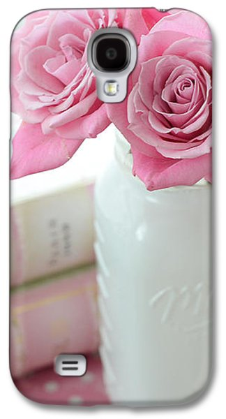 Romantic Shabby Chic Pink And White Roses - Pink Roses In White Mason Jar Galaxy S4 Case