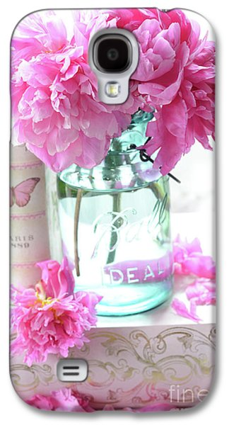 Romantic Shabby Chic Pink Peonies Aqua Mason Jars Floral Decor - Pink Peonies In Ball Jar Galaxy S4 Case