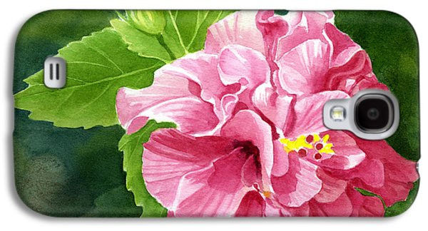 Rose Colored Hibiscus With Textured Background Galaxy S4 Case by Sharon Freeman