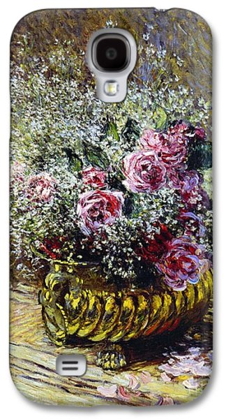 Copper Galaxy S4 Cases - Roses in a Copper Vase Galaxy S4 Case by Claude Monet