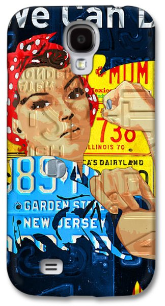 Rosie The Riveter We Can Do It Promotional Poster Recycled License Plate Art Galaxy S4 Case by Design Turnpike