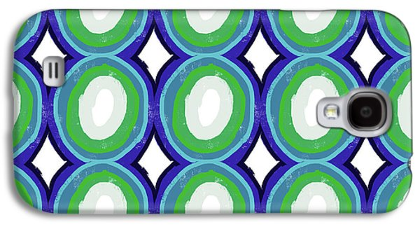 Round And Round Blue And Green- Art By Linda Woods Galaxy S4 Case