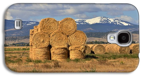 Round Hay Bales And Mountain Galaxy S4 Case