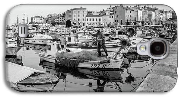 Rovinj Fisherman Working In Old Town Harbor - Rovinj, Istria, Croatia Galaxy S4 Case