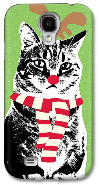 Rudolph The Red Nosed Cat- Art By Linda Woods Galaxy S4 Case