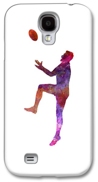 Rugby Man Player 01 In Watercolor Galaxy S4 Case by Pablo Romero