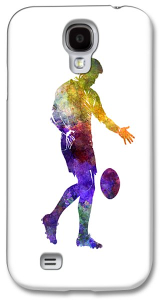 Rugby Man Player 02 In Watercolor Galaxy S4 Case by Pablo Romero