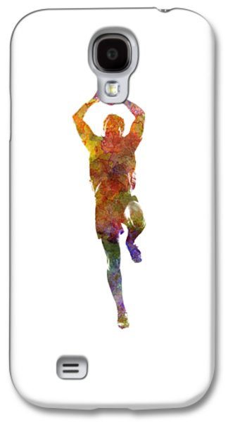 Rugby Man Player 04 In Watercolor Galaxy S4 Case by Pablo Romero
