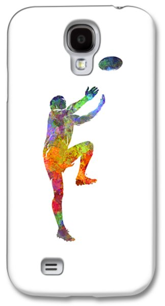 Rugby Man Player 05 In Watercolor Galaxy S4 Case by Pablo Romero