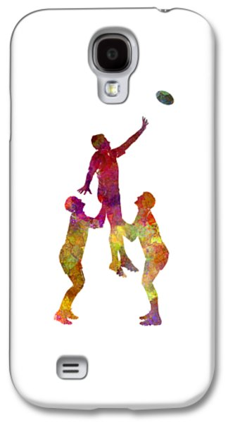 Rugby Men Players 01 In Watercolor Galaxy S4 Case by Pablo Romero