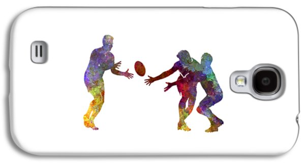 Rugby Men Players 02 In Watercolor Galaxy S4 Case by Pablo Romero