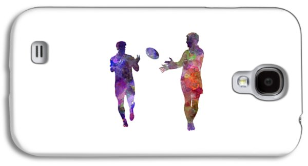 Rugby Men Players 04 In Watercolor Galaxy S4 Case by Pablo Romero