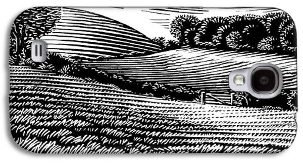 Rural Landscape, Woodcut Galaxy S4 Case