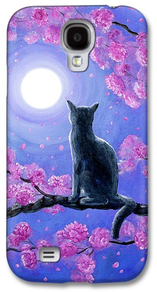 Russian Blue Cat In Pink Flowers Galaxy S4 Case by Laura Iverson