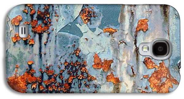 Rusted World - Orange And Blue - Abstract Galaxy S4 Case by Janine Riley