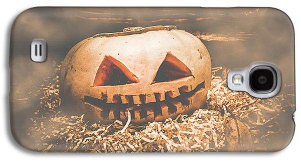 Rustic Barn Pumpkin Head In Horror Fog Galaxy S4 Case by Jorgo Photography - Wall Art Gallery