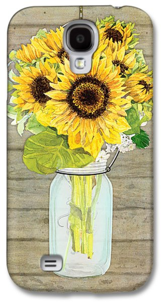 Rustic Country Sunflowers In Mason Jar Galaxy S4 Case by Audrey Jeanne Roberts