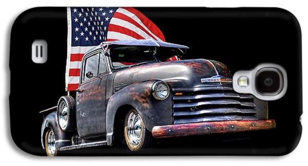 Rusty 1951 Chevy Truck With Us Flag Galaxy S4 Case by Gill Billington