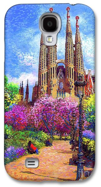 Cherry Blossoms Galaxy S4 Case - Sagrada Familia And Park Barcelona by Jane Small