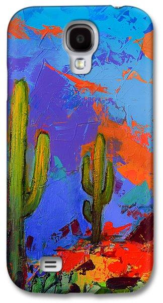 Saguaros Land Sunset By Elise Palmigiani - Square Version Galaxy S4 Case by Elise Palmigiani