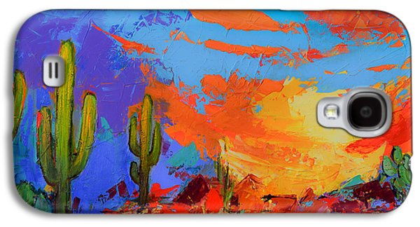 Saguaros Land Sunset Galaxy S4 Case by Elise Palmigiani