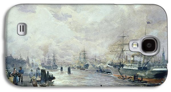 Sailing Ships In The Port Of Hamburg Galaxy S4 Case by Carl Rodeck