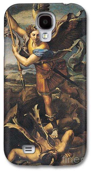 Saint Michael Overwhelming The Demon Galaxy S4 Case by Raphael