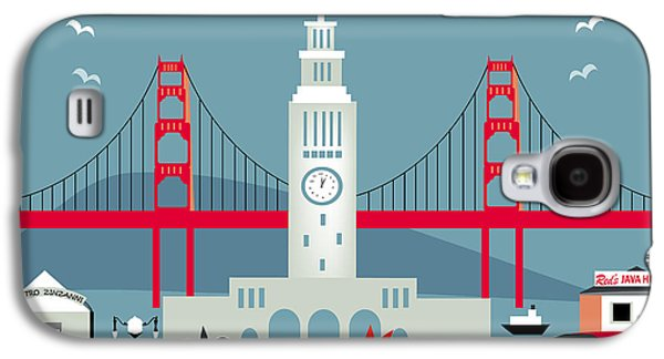 San Francisco California Horizontal Skyline - Ferry Building Galaxy S4 Case by Karen Young