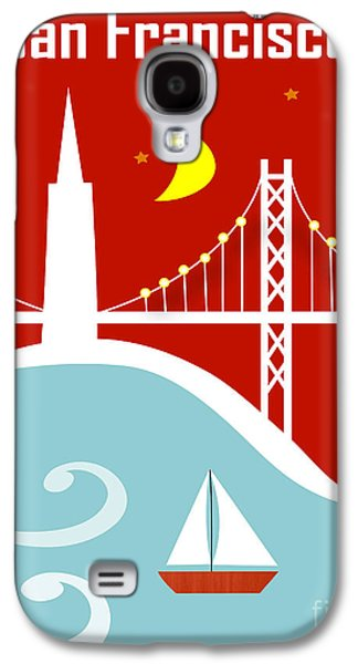 San Francisco California Vertical Scene - East Bay Bridge And Boat Galaxy S4 Case by Karen Young